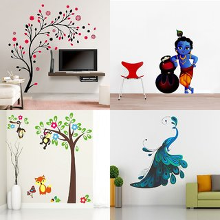 Eja Art Set of 4 Multicolor Wall Sticker Magical Tree|Makhanchor|Modern Peacock|monkey Hanging On Tree - Material  Vinyl