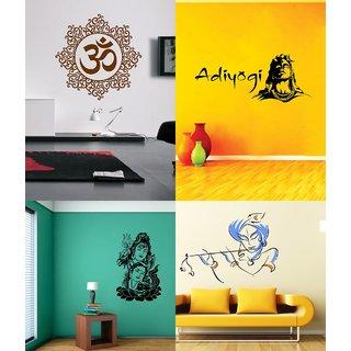 Eja Art Set of 4 Multicolor Wall Sticker Shiv Parwati Adiyogi Bansidhar Designer Om - Material  Vinyl