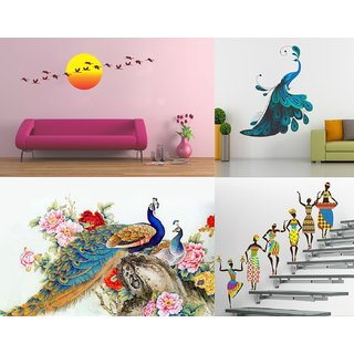 Eja Art Set of 4 Multicolor Wall Sticker Royal Peacock|Modern Peacock|Sunrise  With Flying Bird|Tribal Lady Material - Vinyl