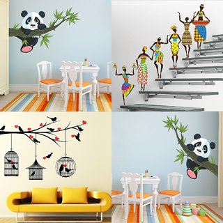 Eja Art Set of 4 Multicolor Wall Sticker Panda Hanging On A Branch|Tribal Lady|Love Birds With Hearts - Material  Vinyl