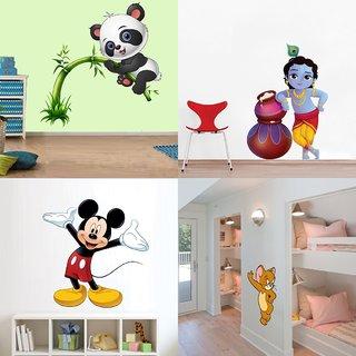 Eja Art Set of 4 Multicolor Wall Sticker Cute Panda On Tree|Cute Bal Krishna Makhan Chor|Cute Mickey Mouse|Cute Mouse Material - Vinyl