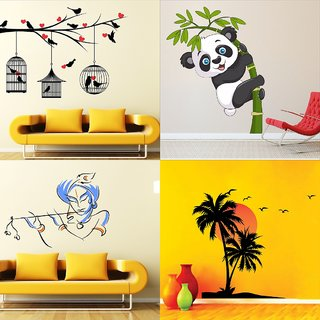 Eja Art Vinyl Set of 4 Multicolor Wall Sticker Love Birds With Hearts|Baby Panda|Bansidhar|Beach With Sunset (50*5*5 cm)