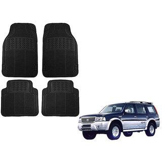 Auto Addict Car Simple Rubber Black Mats Set of 4Pcs For Ford Endeavour