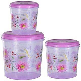 Big Plastic Container Set/Storage Box Set of 3 Pcs (11000 Ml  7500 Ml  5000 Ml )