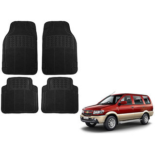 Auto Addict Car Simple Rubber Black Mats Set of 4Pcs For Chevrolet Tavera