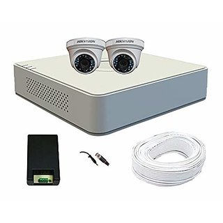 Hikvision 4ch turbo hd mini dvr with 1mp (720p) 2 dome cameras combo kit without hard disk