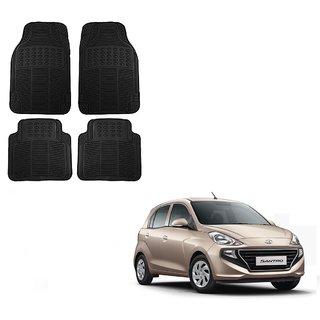 Auto Addict Car Simple Rubber Black Mats Set of 4Pcs For Hyundai Santro New 2018