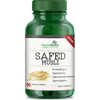 Simply Herbal Extremely Potent 800 Mg Safedmusli Extract Veg Capsules - 90 Count