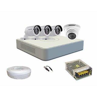 Hikvision 4ch Full HD 1080P 2MP ECO DVR + Hikvision 1MP 720P turbo hd Night Vision Bullet Camera 3pc + Hikvisi