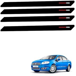 Auto Addict Black Red Designer Bumper Protector Set of 4 Pcs For Fiat Linea Classic