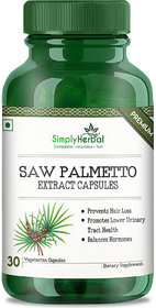 Simply Herbal 800 Mg 100 Pure Saw Palmetto Extract Veg Capsules - 30 Count