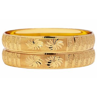 Shine Art Gold Plated Traditional Unique Fancy Designer Kada set of 2pcs for women ( All Size Available)