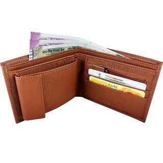 3 Bro Bi-fold Mens Wallet (Tan) (Synthetic leather/Rexine)