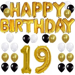 Buy Happy Birthday Gold Letter Foil Black White Latex Balloons 19 No Perfect Combo For Party Online INR698 From ShopClues