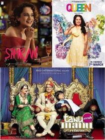 Queen , Simran , Tanu Weds Manu Returns clear HD print good sound (it's burn DATA DVD play only in computer or latop