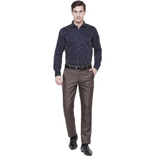 09b67687e1 Frankline Cotton Casual Dotted Navy Blue Shirt Slim Fit