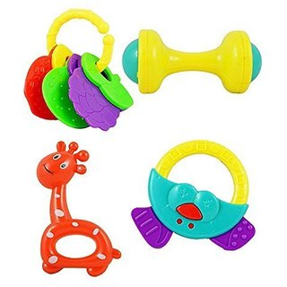 New Pinch NonToxic Baby Rattle Toy for Infants and Toddlers, Multi (Set of 4 Pieces)