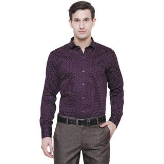 Frankline Cotton Casual Dotted Purple Shirt Slim Fit
