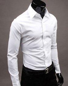 Royal Fashion Solid White Formal Shirt For Men