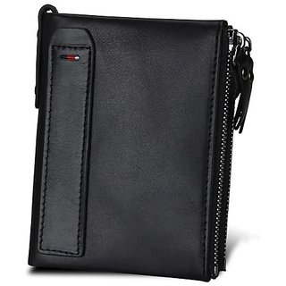 dide Men Genuine Leather 8 Card Slots Coin Bag Wallet Men Purse High Quality Male Card ID Holder (Black)