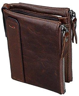 Aaiva Men's Brown Pure Leather Bi-fold Wallet