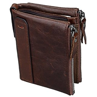 Aaiva Brown Pure Leather Bi-fold Wallet For Men