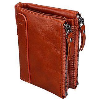 dide Men Genuine Leather 8 Card Slots Coin Bag Brown Wallet Men Purse High Quality Male Card ID Holder (Tan)