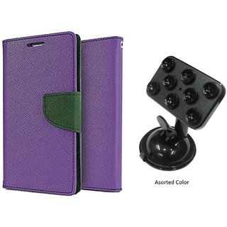 Wallet Flip Cover for Micromax Bolt A069  - PURPLE With Universal Car Mount Holder