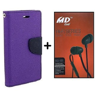 Wallet Flip Cover for Sony Xperia ZR M36H  - PURPLE With Earphone(BRN50B)