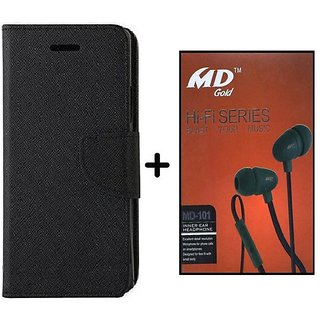 Wallet Flip Cover for Micromax Canvas Juice 2 AQ5001 - Black With Earphone(BRN50B)