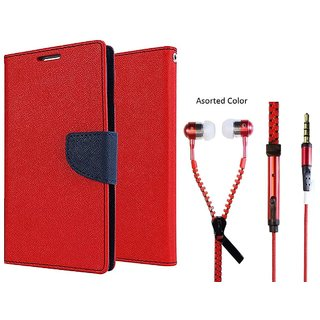 Wallet Flip Cover for Micromax Canvas 4 A210  - RED With Universal Zipper Earphone(Colour May Vary)