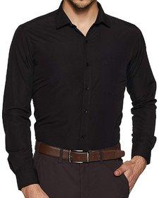Freed Minds Solid Black Formal Shirt For Men