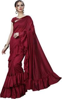 Sargam Fashion Women's Silk Solid Ruffle Saree Frill Sari (Maroon)