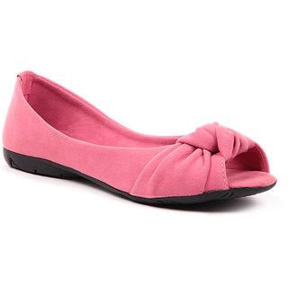 Sindhi Footwear Women's Pink Rexin Casual Ballerinas