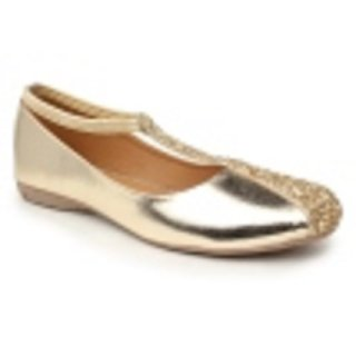 Sindhi Footwear Women's Golden Rexin Ethnic Ballerinas