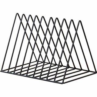 House of Quirk Magazine Holder, Desktop File Sorter Organizer, 9 Slot Triangle Shape, (Size 18H x 26L x 17W) cm - Black