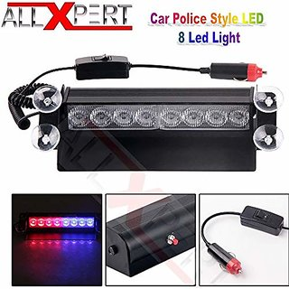 AllXPert Car Led Emergency Dash Strobe Flash Warning Light 12V 8 Led Flashing Lights (Red  Blue)