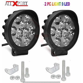 AllXPert 9 LED Round Fog Light 15W Lamp for Motorcycle Car ATV Jeep 4x4 Tractor Off Road Waterproof Dustproof Shockproof 3 inches Lamp with Mounting (Pack of 2)