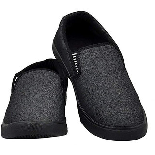 buy men black canvas/casual wear/daily use shoes/sneakers