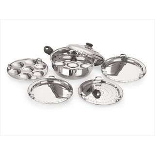PoloPlus Induction Compatible Stainless Steel Multi Purpose Kadai (Silver)