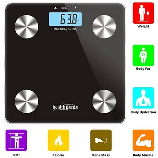 Healthgenie Fitness Body Fat Analyzer, Composition Monitor and Weighing Scale(Black)