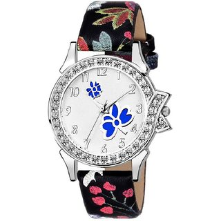 29a765d04 Lava Creation Stylish white Blue Rose Design With Round Dial Girls Wrist  Watch For Women(315-black red rose strap blue)