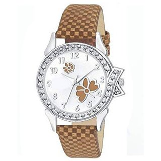 df8386e8e Lava Creation Stylish white Brown Flower Design With Round Dial Girls Wrist  Watch For Women (315-Brown)