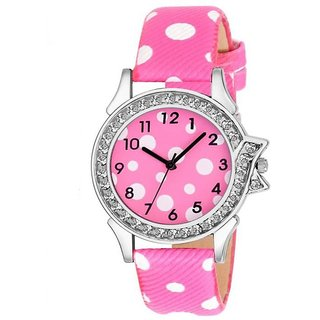 126997bd2 Lava Creation Stylish Pink Watch With Round Dial Girls Wrist Watch For Women  (315-pink strap white spot dial )