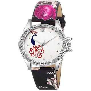 c51b7dcc6 Lava Creation Stylish Black RosePeacock Design With Round Dial Girls Wrist  Watch For Women (315-rose strap mor dial)