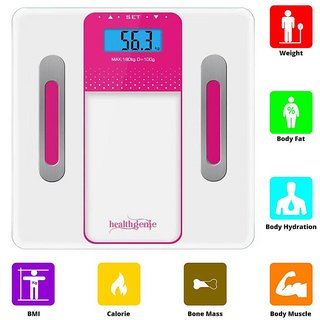 Healthgenie Body Fitness Monitor Fat Analyzer and Weighing Scale (Pink)
