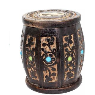 Shilpi Handicrafts Wooden small drum Coin Bank (Brown)