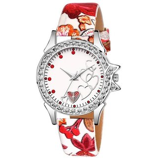 8f2801ebb Lava Creation Stylish white RoseHeart Design With Round Dial Girls Wrist  Watch For Women(315-white strap rose dil dial)