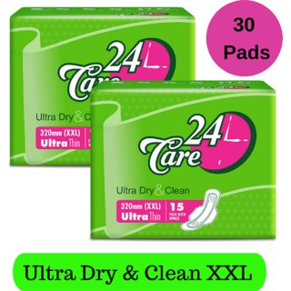 24 Care Ultra Dry Clean XXL Pack 2 Of 30 Sanitary Napkins Pads