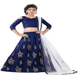 F Plus Fashion Girl's Party Wear Lehenga Choli Set for Kids
